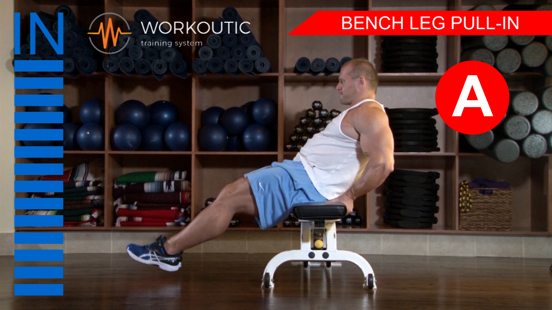 Abs Exercises - Workutic - 6 pack special - Bench Leg Pull In Inhale
