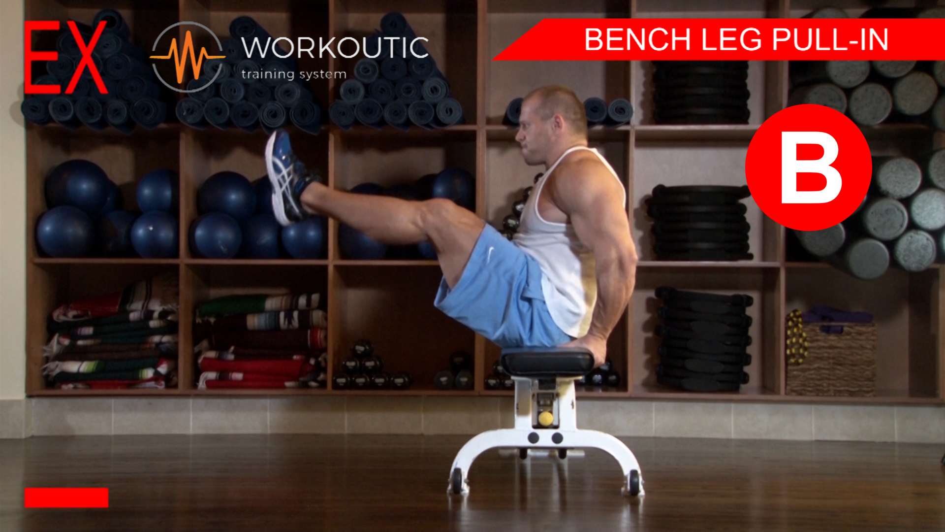 Abs Exercises - Workutic - 6 pack special - Bench Leg Pull In Exhale