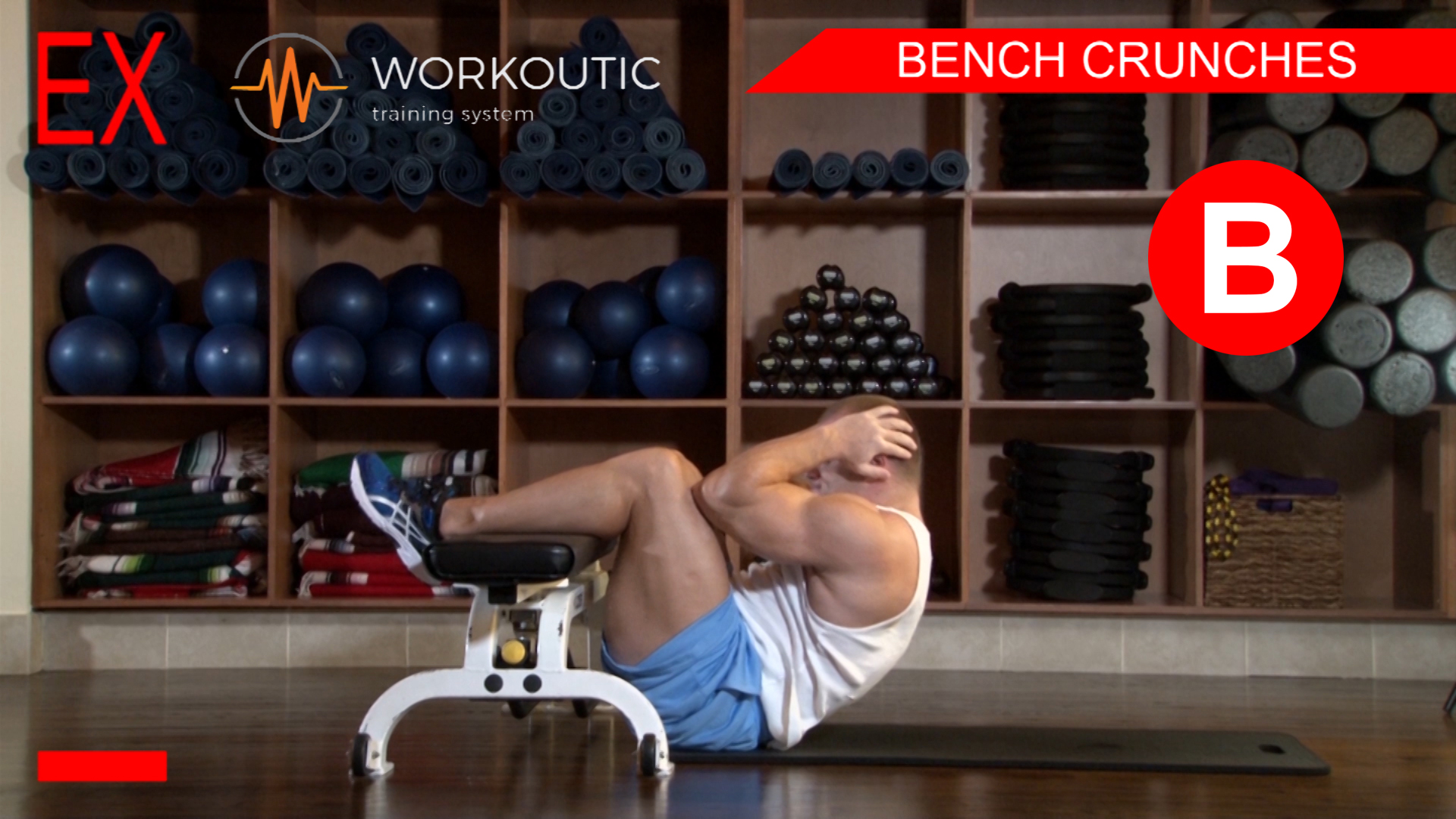 Abs Exercises - Workutic - 6 pack special - Bench Crunches Exhale