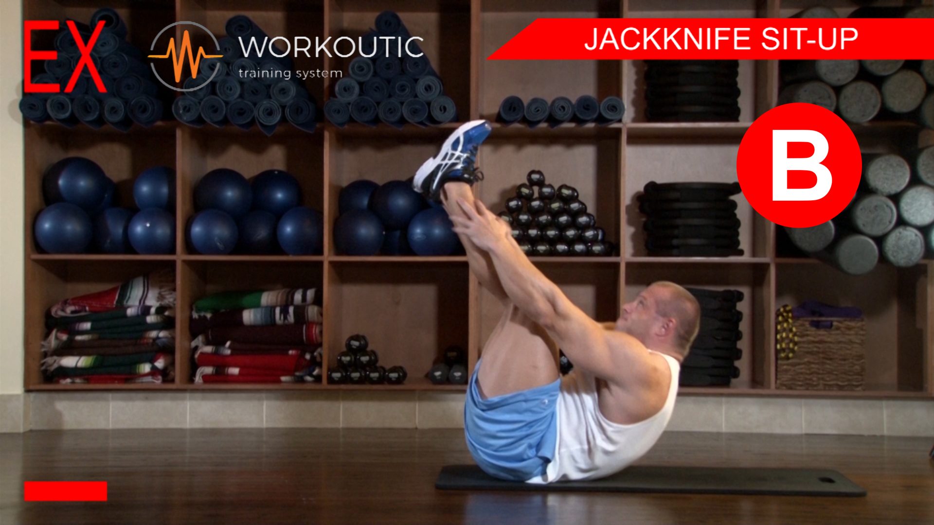 Abs Exercises - Workutic - 6 pack special - Jackknife Sit-Up Exhale